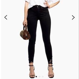 Topshop Black Ripped Hem Jamie Jeans